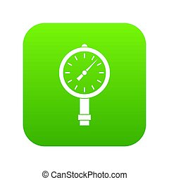 manometer, of, drukmeter, pictogram, digitale , groene
