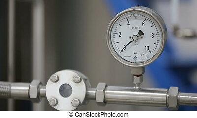 Manometer on laboratory pipeline