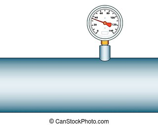 Manometer on pipe - Illustration of the manometer on pipe...