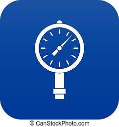 Manometer or pressure gauge icon digital blue for any design...