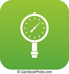 Manometer or pressure gauge icon digital green for any...