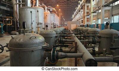 Manometer pipes and valve in boiler room. Thermal power plant piping at modern factory. Sugar beet production plant