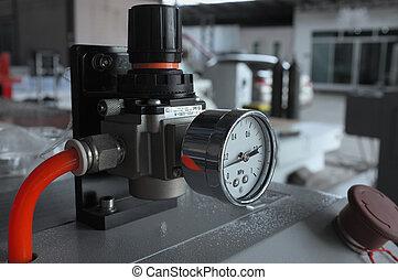 manometer, voor, lucht, controle