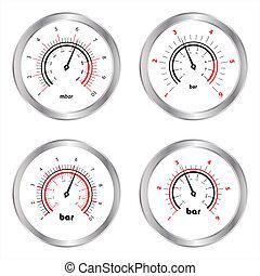 manometers, biały, komplet, odizolowany, tło