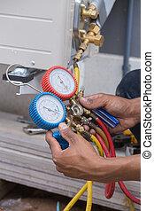 manometers, utrustning, conditioners, fyllande, luft