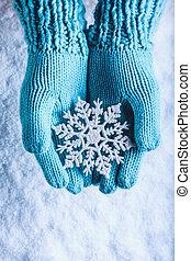 manoplas, concepto, cerceta, luz, nieve, brillante, navidad...