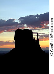 manopola, ovest, valley., monumento, butte, alba