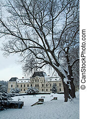 manor-house - old famous manor house in a small park in...