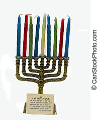 , a manorah with candles and the hanukah prayer, over white