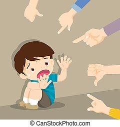 manos, él, triste, rodeado, burlón, sentado, señalar, niño, ...