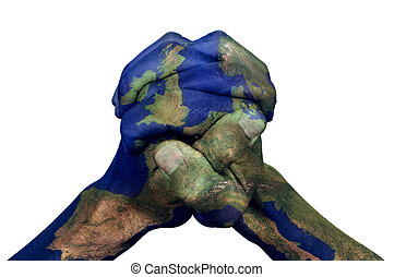 manos abrochadas, modelado, con, un, europa, mapa,...