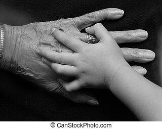manos, abuelas, grande