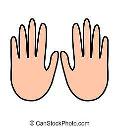 manos, actuación, cinco, dedos