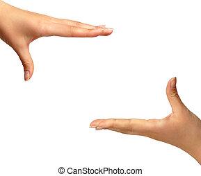 manos, aislado, plano de fondo, encuadrado