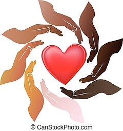 manos, alrededor, corazón, logotipo