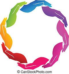 manos, apoyo, logotipo