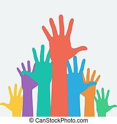 manos arriba, carrera, símbolo