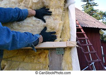manos, casa, insulatiom, material, trabajador, rockwool
