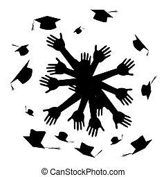 manos, celebrar, graduación, círculo