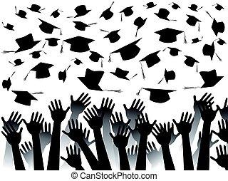 manos, celebrar, graduación