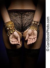 manos, collares, espalda, joyería del oro, cadena, atado,...