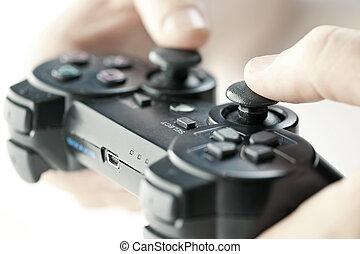manos, con, controlador del partido