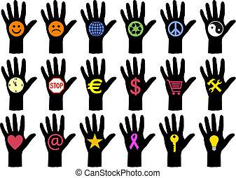 manos, con, iconos, vector