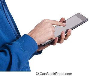 manos, con, móvil, tableta