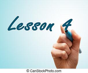manos, con, pluma, escritura, en, pantalla, lección, 4