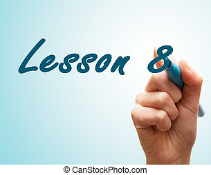 manos, con, pluma, escritura, en, pantalla, lección, 8
