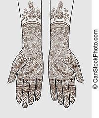 manos, con, tatuaje alheña