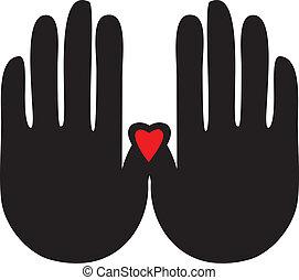 manos, con, un, corazón, logotipo, vector
