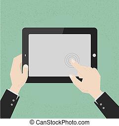 manos, con, un, tableta, tacto