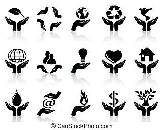 manos, conjunto, tenencia, iconos