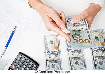 manos, contar, dinero, cicatrizarse