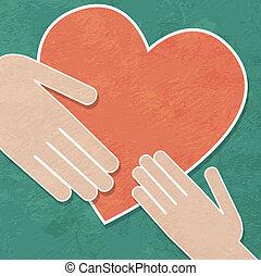 Manos, corazón, tenencia, caridad