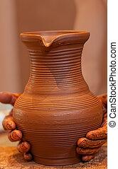 manos, crear, tarro, alfarero, círculo, de barro