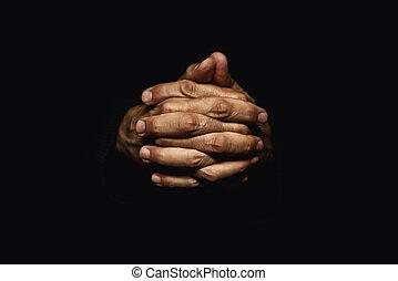 manos, cruzado, en, oración