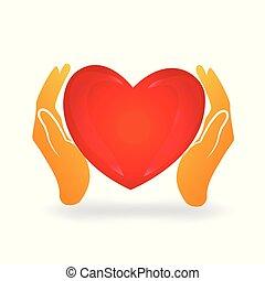manos, cuidado, un, adore corazón, logotipo