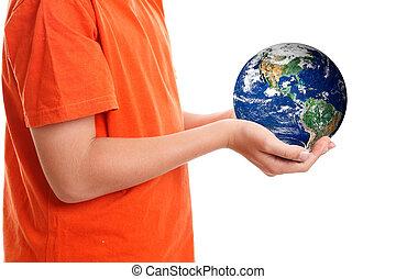 manos, cupping, planeta, tenencia, nuestro, tierra