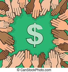 manos, dólar, circundante, muchos