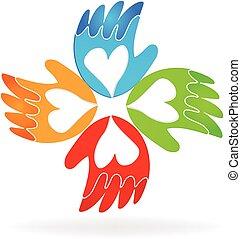 manos, de, amor, vector, icono, logotipo