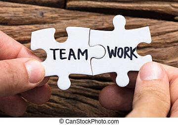 manos, de conexión, trabajo equipo, pedazos jigsaw