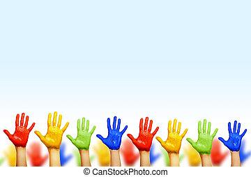 manos, de, diferente, colores