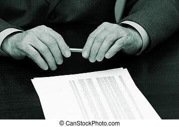 manos, de, el, hombre de negocios