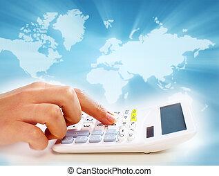 manos, de, empresarios, con, calculator.