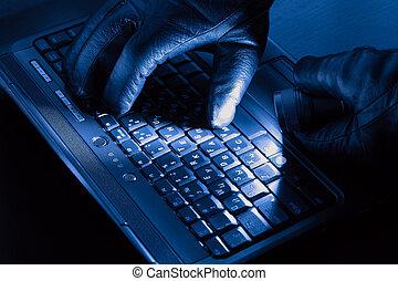 manos, de, pirata informático