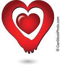 manos de valor en cartera, de, amor, logotipo