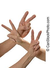 manos, dedos, tres