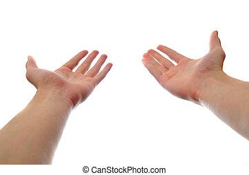 manos, dos, tenencia, alcanzar